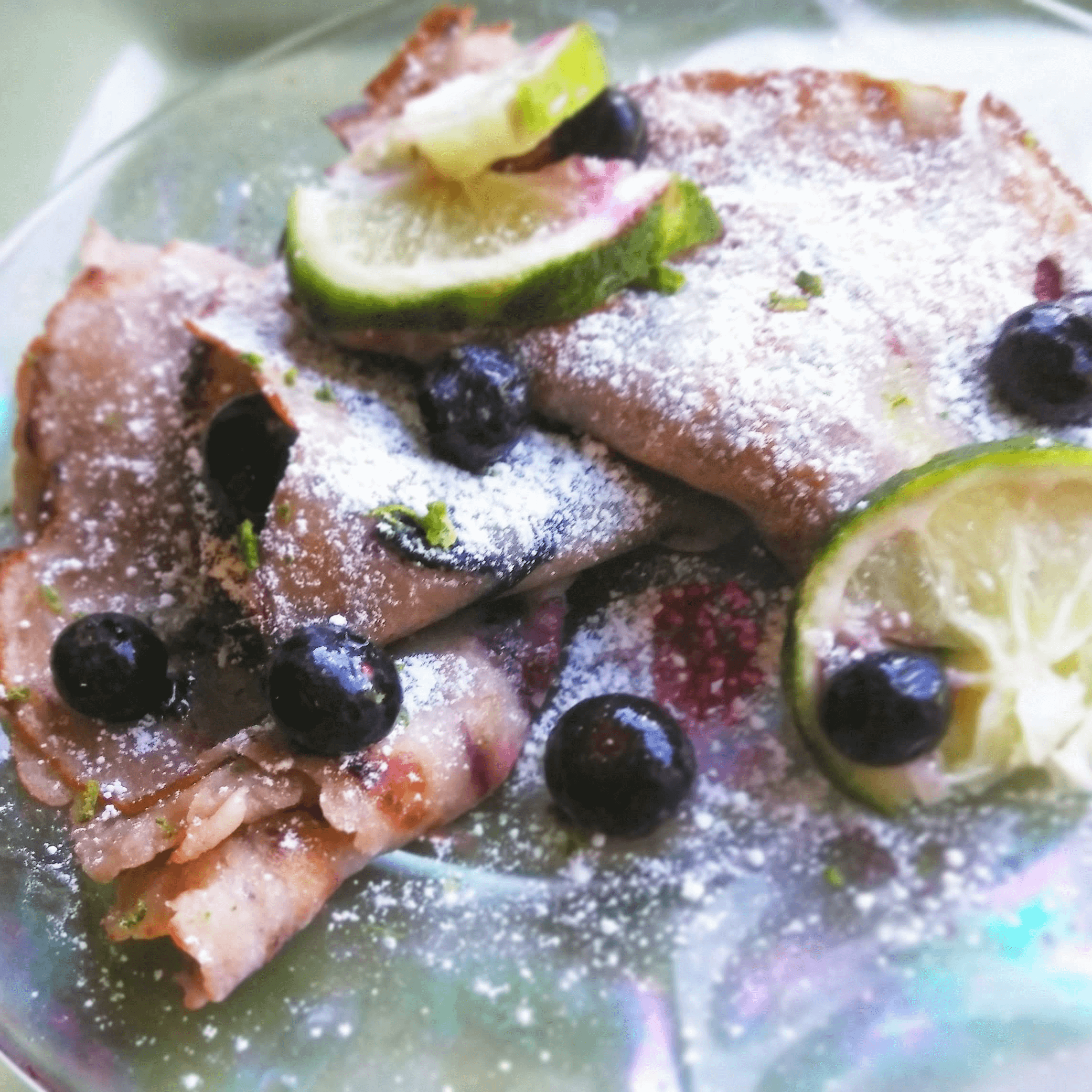 plate of blueberry lime crepes