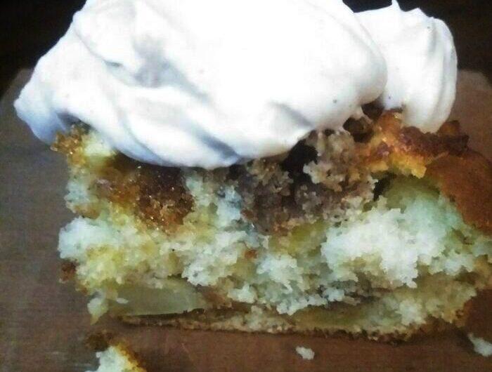 Apple Cinnamon Crumb Cake with Brown Sugar Cream