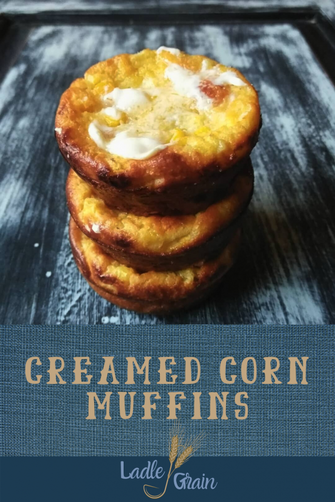 stack of 3 creamed corn muffins