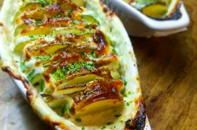 Cheesy Scalloped Zucchini and Potato Casserole