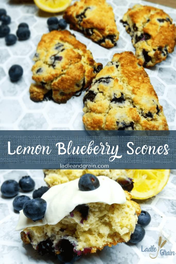 Lemon Blueberry Scones by ladleandgrain.com