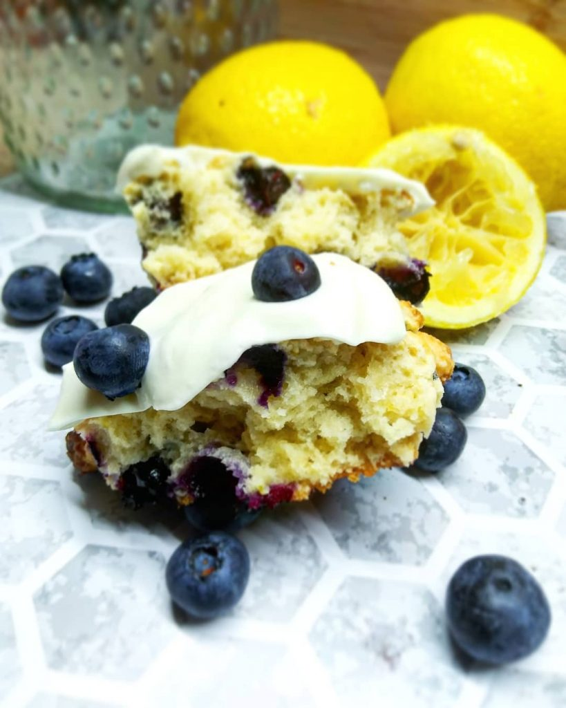 blueberry lemon scone with lemon cream cheese frosting