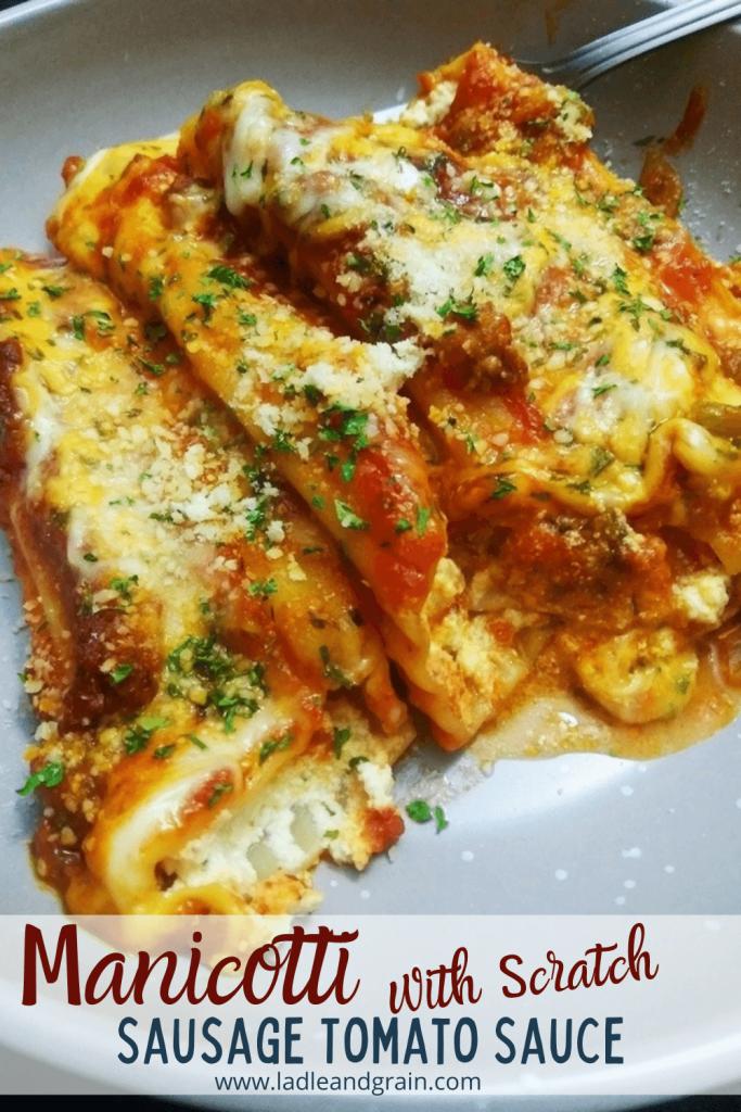 manicotti with scratch sausage tomato sauce pin