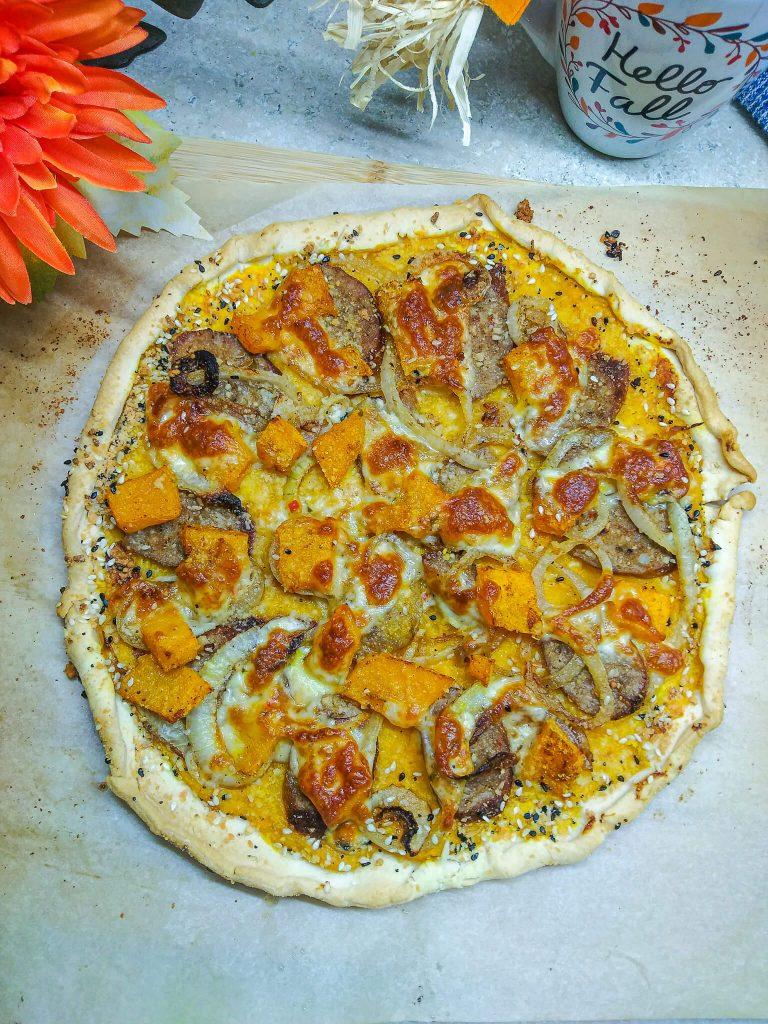 whole butternut squash galette with spicy sausage.