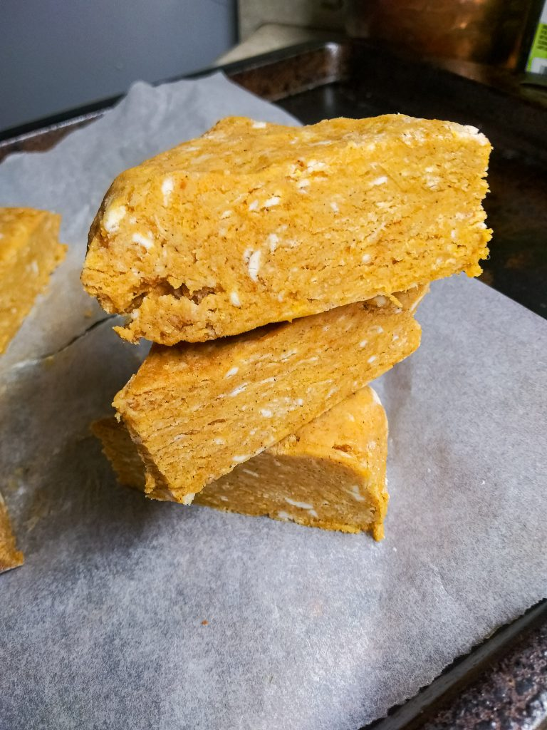 raw pumpkin scone dough stacked.