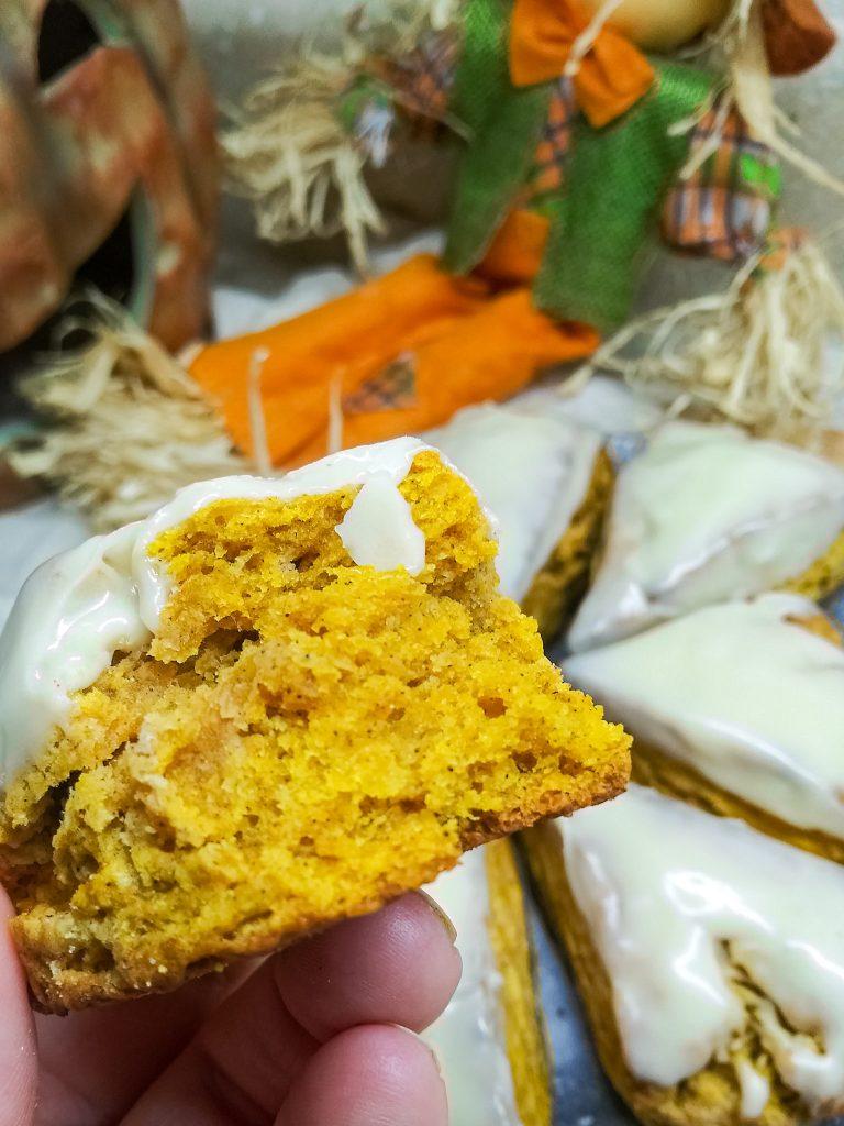 pumpkin scones bite.