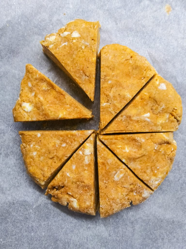 disc of sliced scone dough.