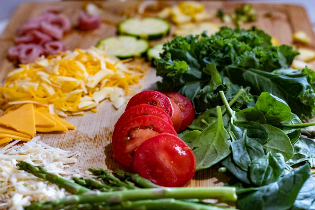 fresh vegetables for garden quiche.