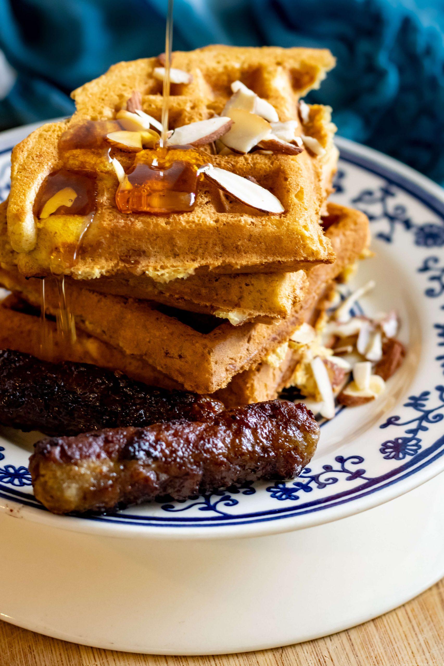 multi-grain belgian waffles stack
