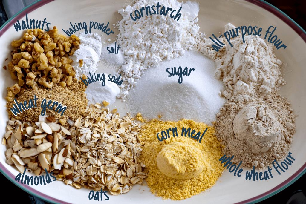 ingredients for multigrain waffles