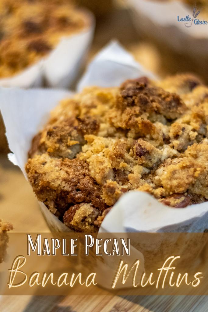 maple pecan banana bread muffin pin.